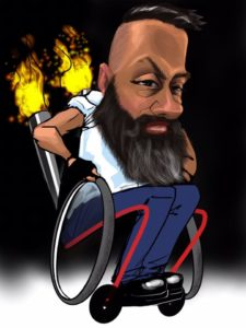 A digital caricature of a client in a hotrod wheelchair.